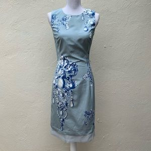 Vtg Oscar de la Renta Diamond Jewel Blue Dress